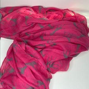 Pink & gray giraffe print scarf or wrap